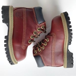 Unisex Baby Timberland Burgundy Leather Boots